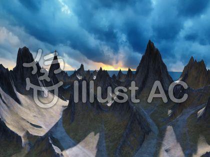 巨大山脈と湖と海のイラスト