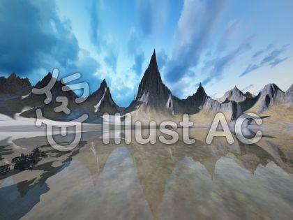 巨大山脈と済んだ湖と湖底の廃墟のイラスト
