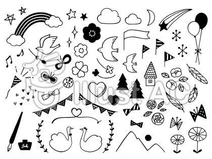 手描きイラストセット モノトーンイラスト No 988550無料イラスト