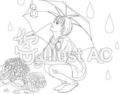 梅雨のぬりえイラスト No 1070573無料イラストならイラストac