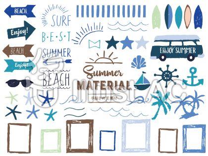beach、enjoy、矢印の看板、車、ヨット、フレーム、サーフボード、サングラス、サンセットのフリー素材