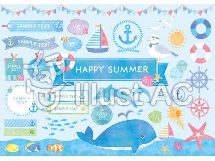 鯨、タグ、アンカー、帽子をかぶったカモメ、浮き輪、太陽、魚、ヒトデ、ガーランド、海