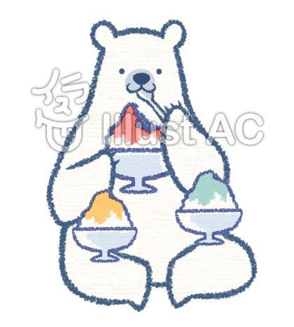 かき氷を食べるシロクマのイラスト