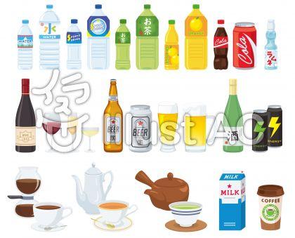 ソフトドリンク、ワイン、ミルク、カフェラテ、コーヒー、オレンジジュースのペットボトルのイラスト