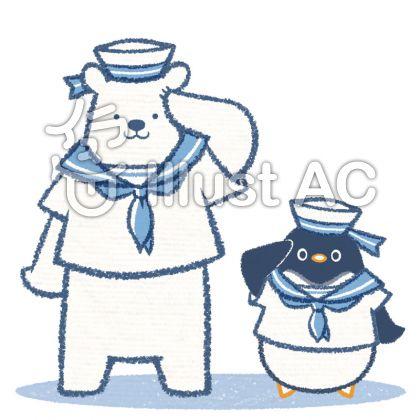 セーラー服を着たシロクマとペンギンのイラスト