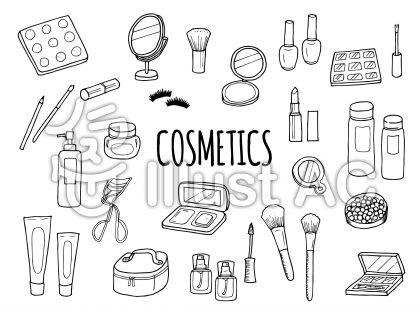 化粧品のイラストセットモノクロ 無料イラスト素材ichis Vector Art