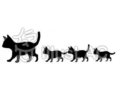 ヘッダー、ねこ親子シルエットイラスト , No 1219543/無料