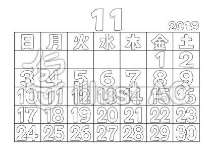 ぬりえカレンダー2019年11月イラスト No 1248334無料イラストなら