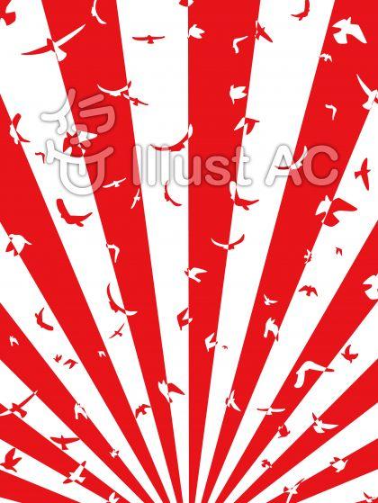 ハトの紅白集中線・縦