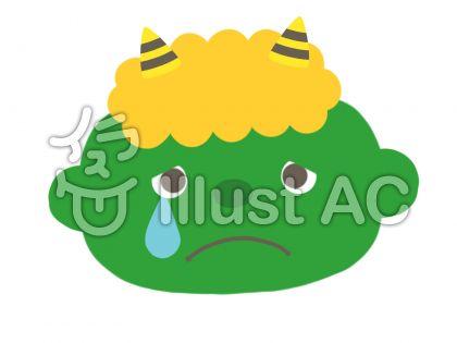泣いた顔の可愛い緑の鬼イラスト No 1355748無料イラストなら
