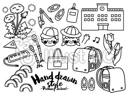 モノクロで描かれた校舎、小学生、ピアニカ、つくし、ランドセル、チューリップ、三角定規のフリー素材