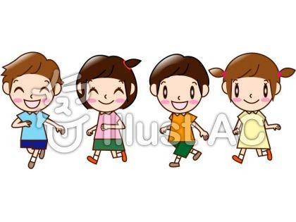 走る男の子と女の子4人イラスト No 1480944無料イラストなら