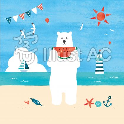 砂浜でスイカを食べるシロクマのイラスト